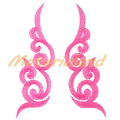 By pair Deep Pink Venise Flower Motif Lace Applique Guipure Trims DIY #VL17B