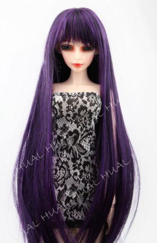1//3 8-9 LUTS SD BJD Doll Wig Long Purple Mix Black Hair DOD DZ