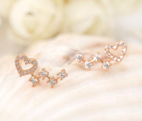 Elegant 925 Sterling Silver Rose Gold Sparkling Crystal Heart Stud Earrings