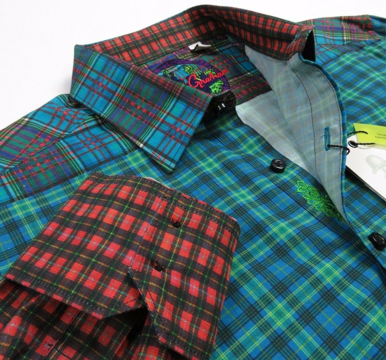 Robert Graham Men Vintage Geometric Patterned Plaids Classic-Fit Sport Shirts M