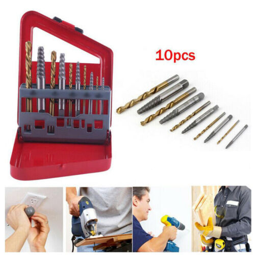10 pc Set Screw Extractor Kit Remove Broken Bolts Fasteners Easy Out Drill Bit