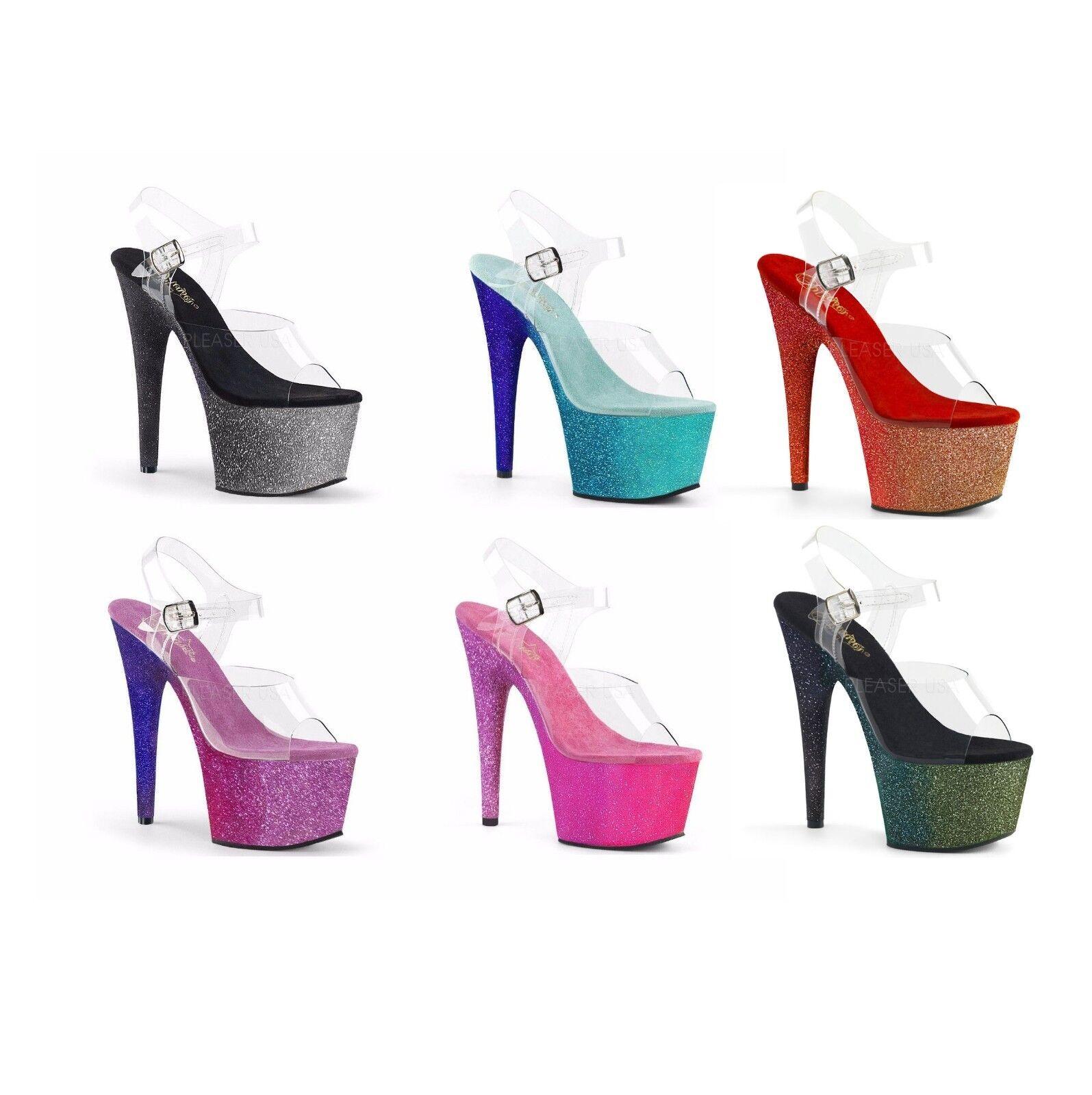 economico e di alta qualità Pleaser Pleaser Pleaser ADORE-708OMBRE Exotic Dancing Platform Ankle Strap Sandal 7  Heel  Spedizione gratuita al 100%