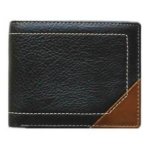 Classic Bi-Fold Black Genuine Leather Wallet ID Credit Card Holder VENUS