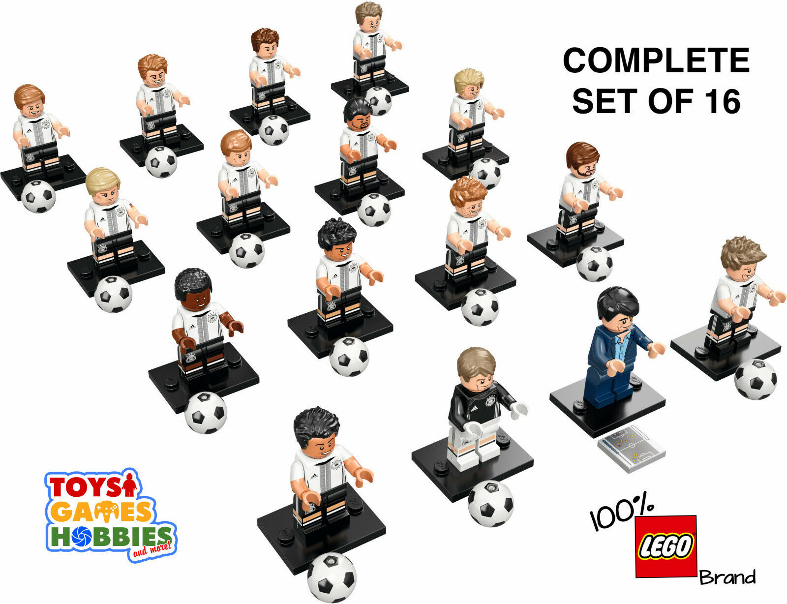 LEGO 71014 Minifigures DFB German Soccer Team COMPLETE SET OF 16 Germany Ball