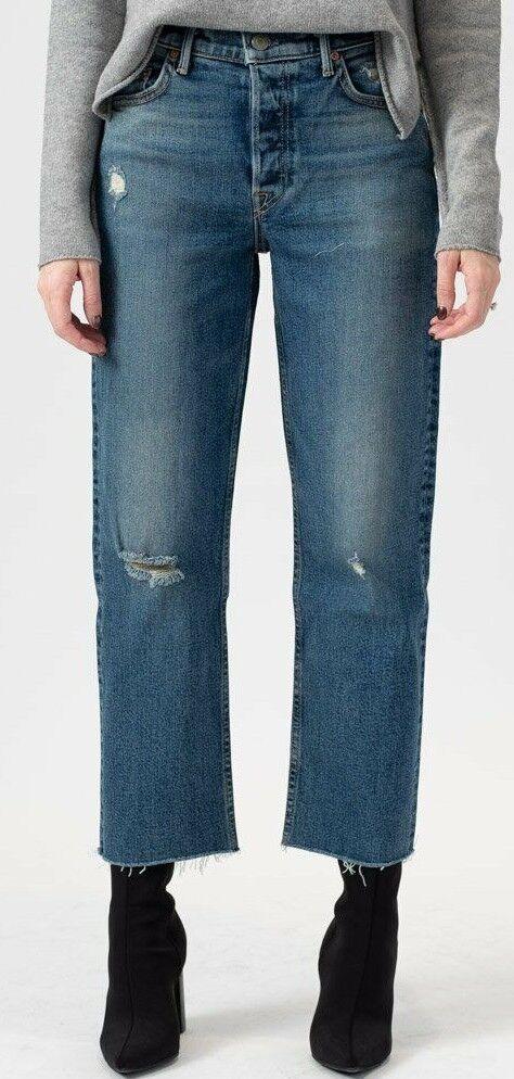 Neu Grlfrnd The Helena Zoll Gerades Bein Denim Jeans in Sechs Pence Größe 24