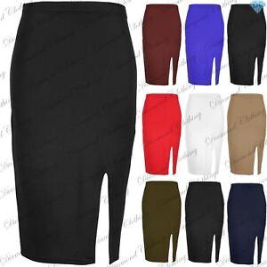 Womens Ladies Side Split Casual Pencil Slit Stretch Bodycon Midi Skirt Plus Size