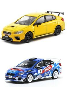 Tarmac-Works-1-64-Subaru-WRX-STi-Japan-Rally-amp-S207-2-Cars-Set-Model-T64-016