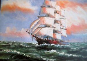 Segelschiffe auf dem meer  Gemälde Segelschiff Meer Schiffe Seefahrt 90x70 Schiffsbilderauf ...