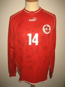 Switzerland-MATCH-WORN-Schweiz-SIGNED-football-shirt-soccer-jersey-trikot-sz-XL