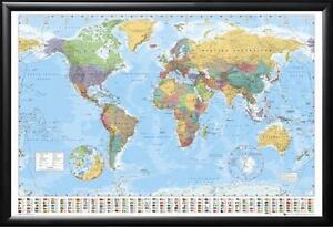 Framed World Map With Country Flags Perfect For Push Pins Premium