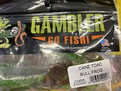 """Gambler 4/"""" Cane Toad Bass Fishing Bait//Lure Frog **FAST SHIPPING**"""