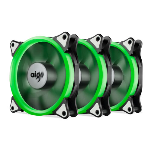 Pack of 3 Aigo 120mm 12cm Halo Ring Neon GREEN LED Computer PC Case Cooling Fan