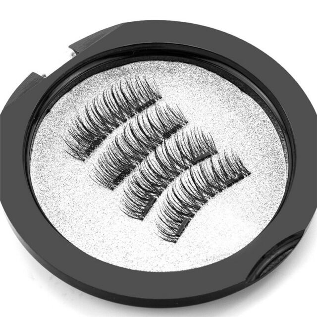 4Pcs/Pair Reusable Double Magnetic False Eyelashes 3D Handmade Eye Lashes Set