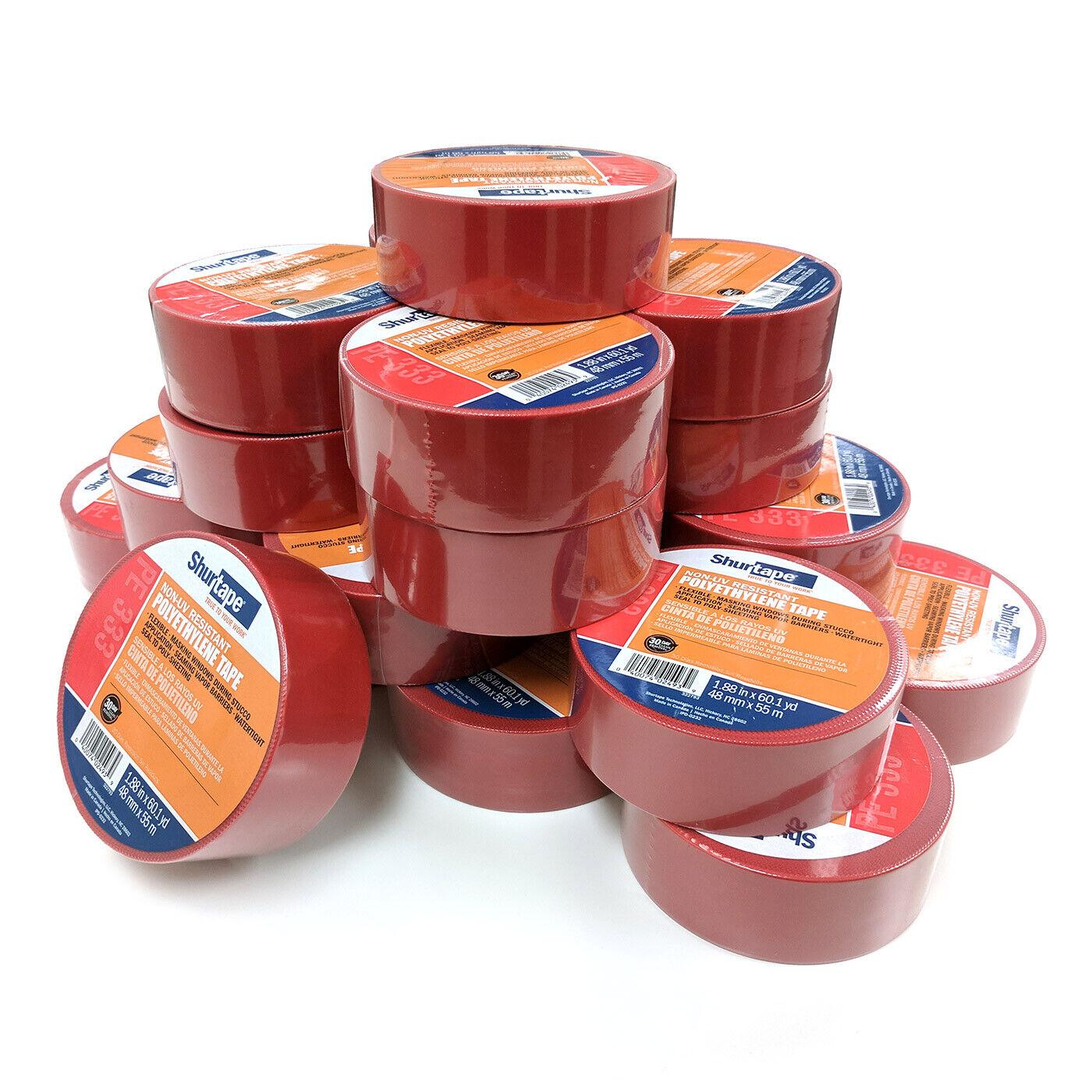 2 in Shurtape PE-333 Economy Stucco Masking Film Tape Red//Serrated x 60 yds.