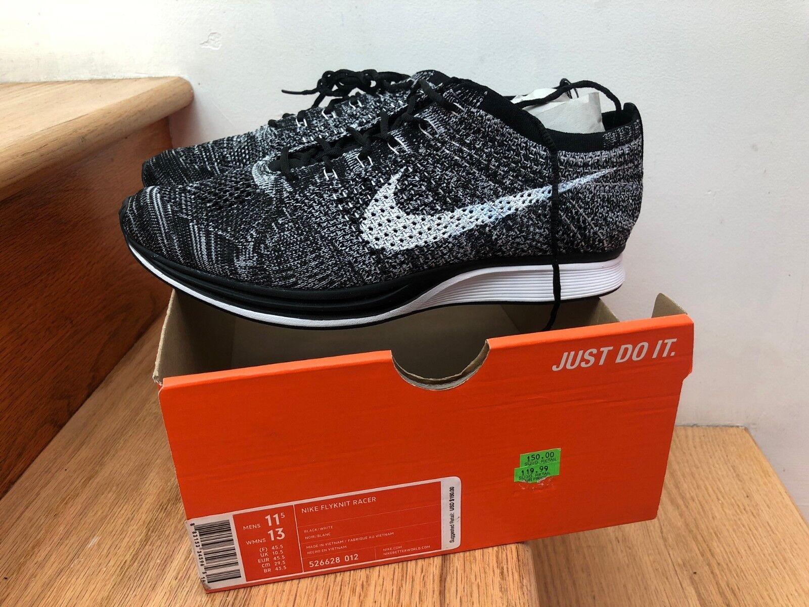 2014 Nike Flyknit Racer Oreo 2.0 Grey Black White size 11.5