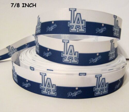 "3/"" GROSGRAIN LA DODGER BASEBALL RIBBON FLAT BACK PLANAR RESINS FOR HAIR BOWS"
