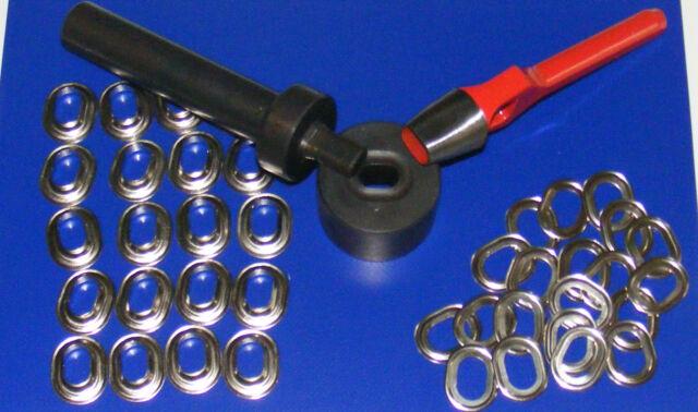 Einschlagstempel zum Einsetzen von Ovalösen, 22,5x13,5 mm + Ovallocheisen + Ösen
