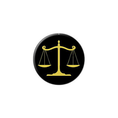 Balanced Scales of Justice Symbol Legal Lawyer Gold Black - Lapel Pin Tie Tack