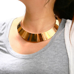 Punk-Wide-Metallic-Curved-Mirror-Choker-Collar-Mottle-Necklace-Gold-Silver