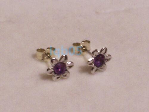 New ladies 9ct 9Carat White Gold Amethyst Flower Studs Earrings 7mm Hallmarked