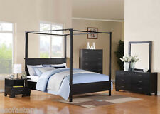 QUEEN SIZE BED SET BEDROOM FURNITURE 4PC BED SET IN BLACK CONTEMPORARY STYLE