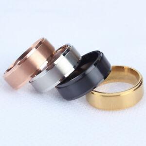 Fashion Women Man Titanium Finger Ring Band Black Wedding Party Ring