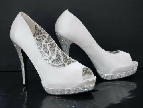 "Bella 12R Satin Rhinestone Open Toe Pump 5.25/"" High Heel Shoe Ivory Size 8 10"