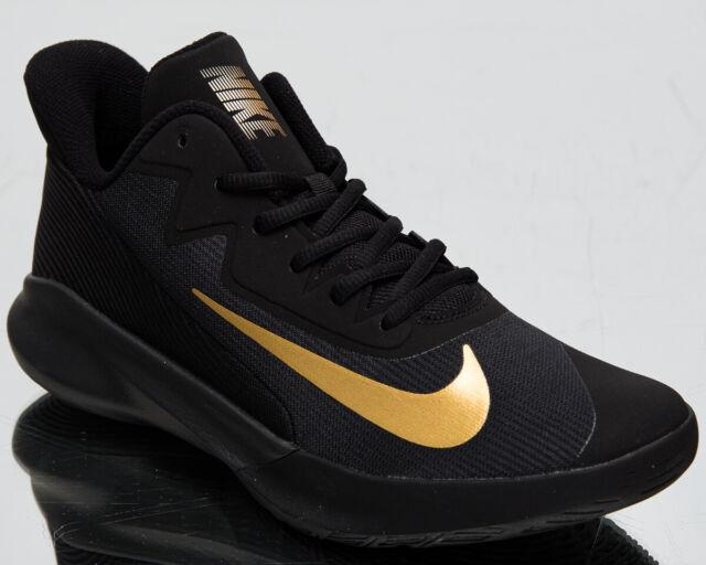 Nike Precision IV 4 Men's Black Metallic Gold Basketball Sneakers Athletic Shoes