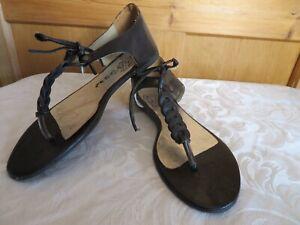Katy-Kiro-Femme-Chaussures-en-cuir-taille-5-38-Noir-Spartiates-Inde