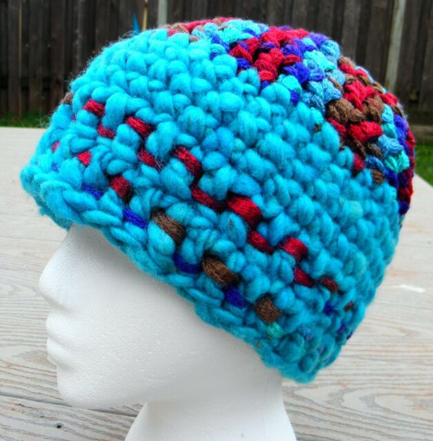 Rich Sturdy and Thick Blue Color Mix Crocheted Beanie - Handmade by Michaela