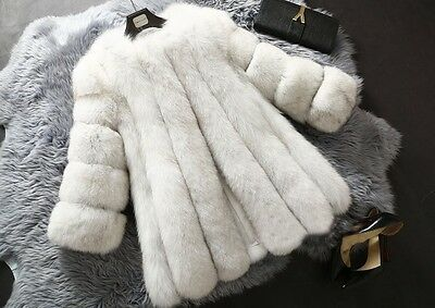 Natural White  Women's Winter Warm Gilet Outwear Girls Slim Faux Fur Jacket Coat