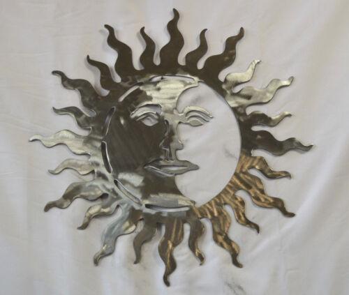 """16.25/"""" SUN MOON 14GA STEEL METAL WALL ART HOME GARDEN DECOR SILVER COLOR 16 1//4/"""""""
