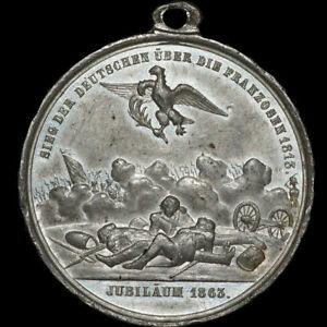 BEFREIUNGSKRIEGE-Zinn-Medaille-1863-50-JAHRE-VOLKERSCHLACHT-BEI-LEIPZIG