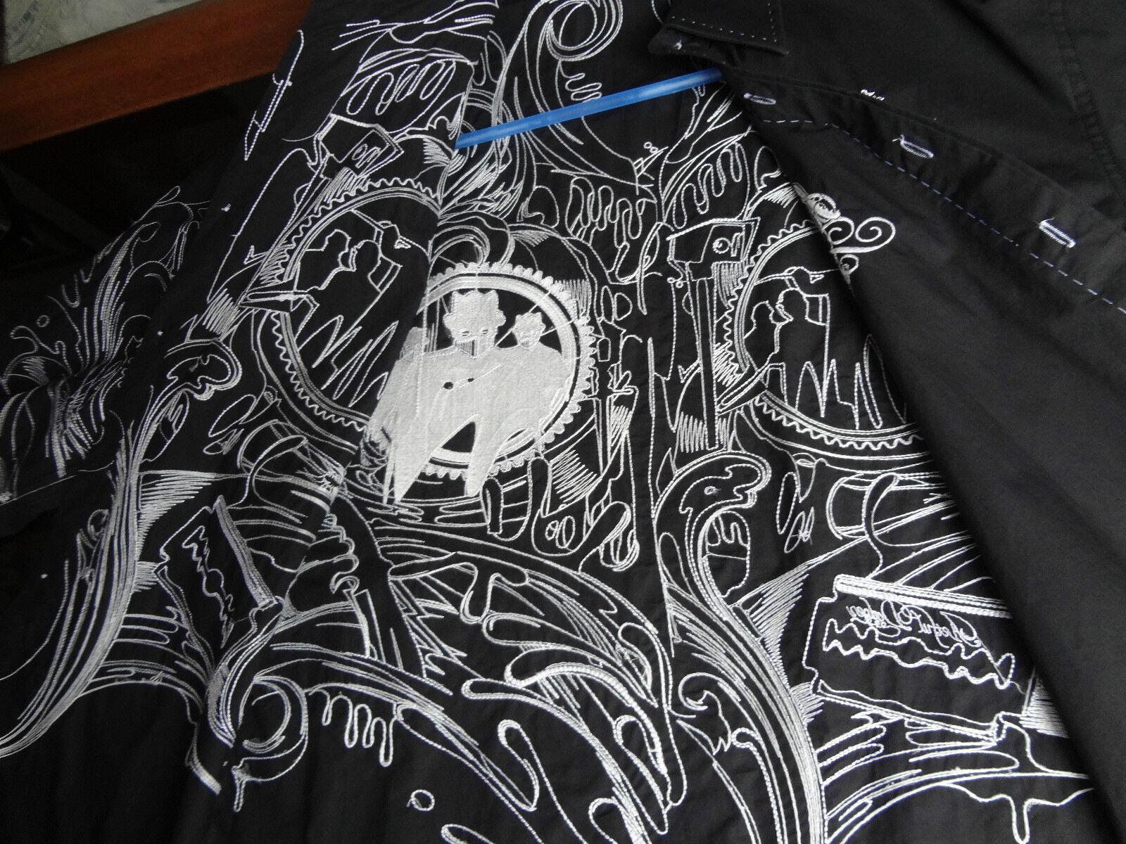 Camicia UOMO MAN. lunga alla moda Nero Camicia Maniche Maniche Maniche nero goth vampiri EMU d83edf