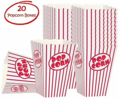 Popcorn Boxes Good For Movies 20 Striped White and Red
