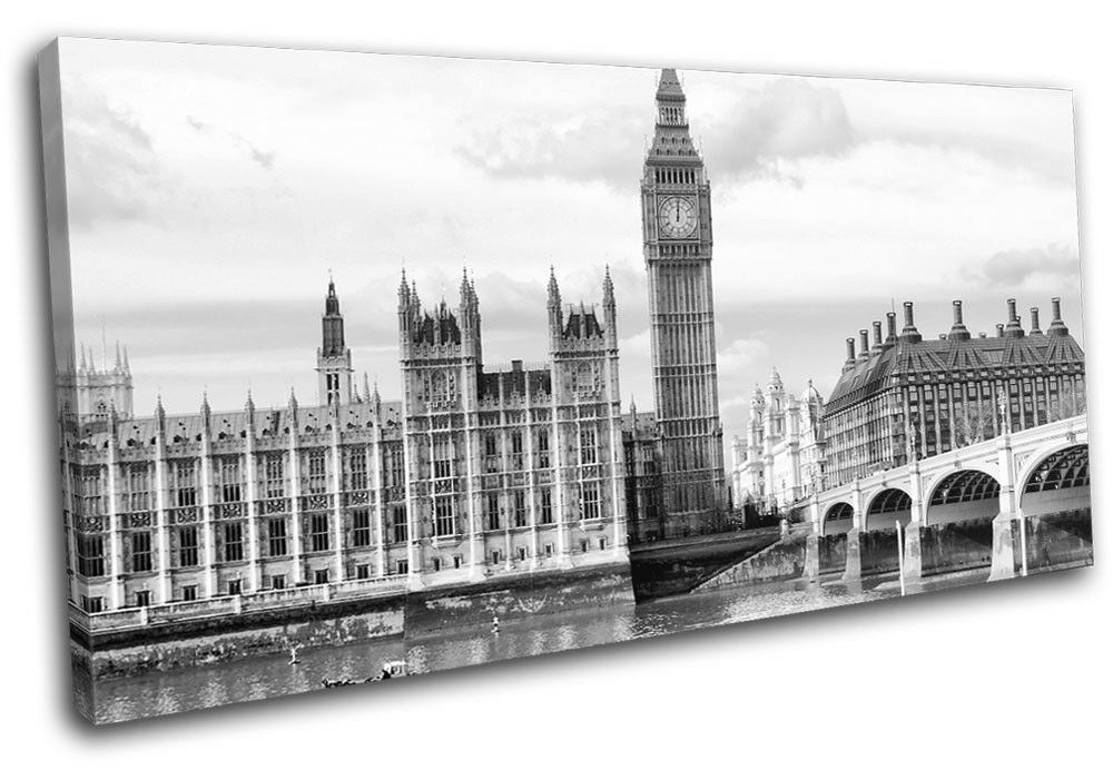 London B & W Landmarks SINGLE Leinwand Wand Kunst Bild drucken