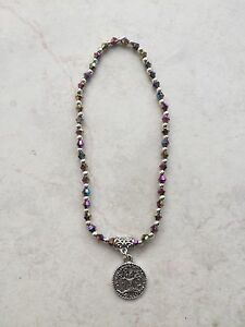Anklet-4mm-Purple-Blue-Green-Multi-Beads-Silver-Tone-Lucky-Tree-Of-Life-Charm