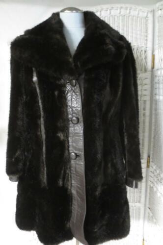 Vtg Leather & Faux Fur Car Coat by Designer Lilli
