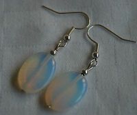 Unique handmade oval opalite simple silver plated earrings + stoppers