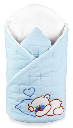 BABY SWADDLE WRAP TEDDY EMBROIDERY COTTON WRAP INFANT BEDDING BLANKET