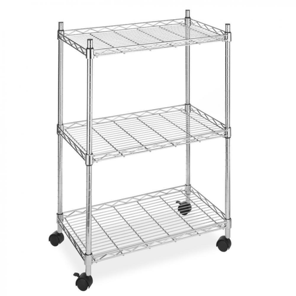 BestOffice Wire Shelving Cart Unit 3 Shelves W/casters Shelf Rack ...