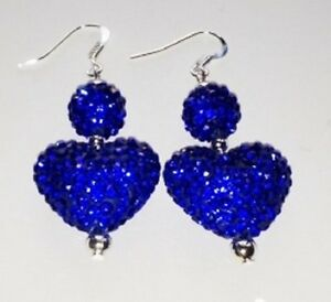 LOVELY 3 BEAD DARK BLUE DROP EARRINGS AUSTRIAN CRYSTAL DISCO BEAD-SPARKLY