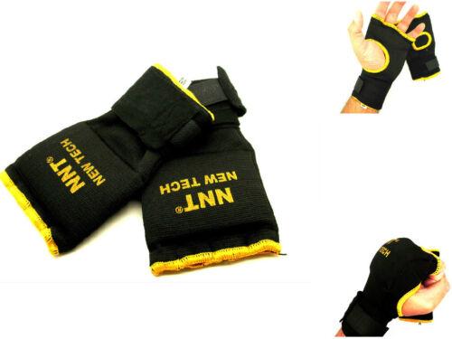 NNT BLACK /& GOLD BORDER GEL PADDED INNER HAND WRAPS BOXING TRAINING GLOVES