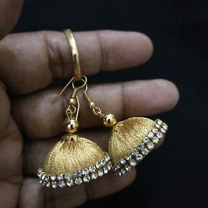 Gold-Fashion-Silk-thread-girls-Women-Teen-Indian-Handmade-hook-Dangler-earrings