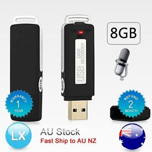 AU-New-USB-MEMORY-STICK-Rechargeable-8GB-Digital-Voice-Recorder-RECORD-Pen-black