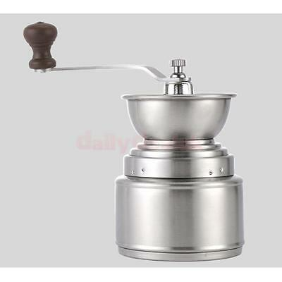 Stainless Mill Steel Manual Coffee Bean Grinder Hand Grinding Tool Silver