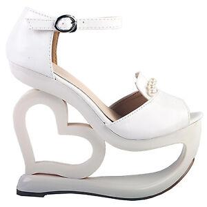 ba172744ecc White D-orsay Pearl Heart Heel Wedge Bridesmaid Wedding Sandals 4 5 ...