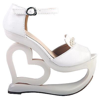 White D orsay Pearl Heart Heel Wedge Bridesmaid Wedding Sandals 45678910 | eBay