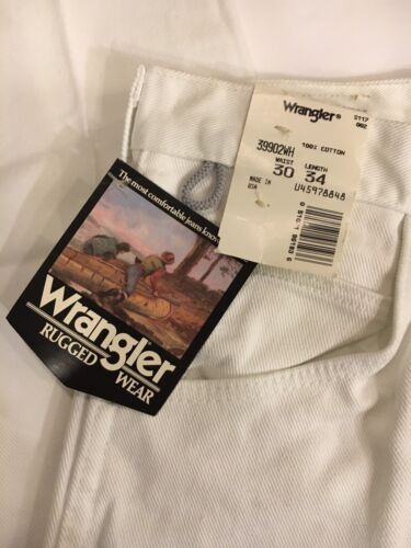 NOS NEW Vintage White Wrangler Rugged Wear Jeans S