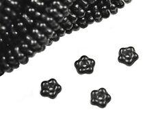 100 Black Flower Spacer Czech Glass Beads 5MM